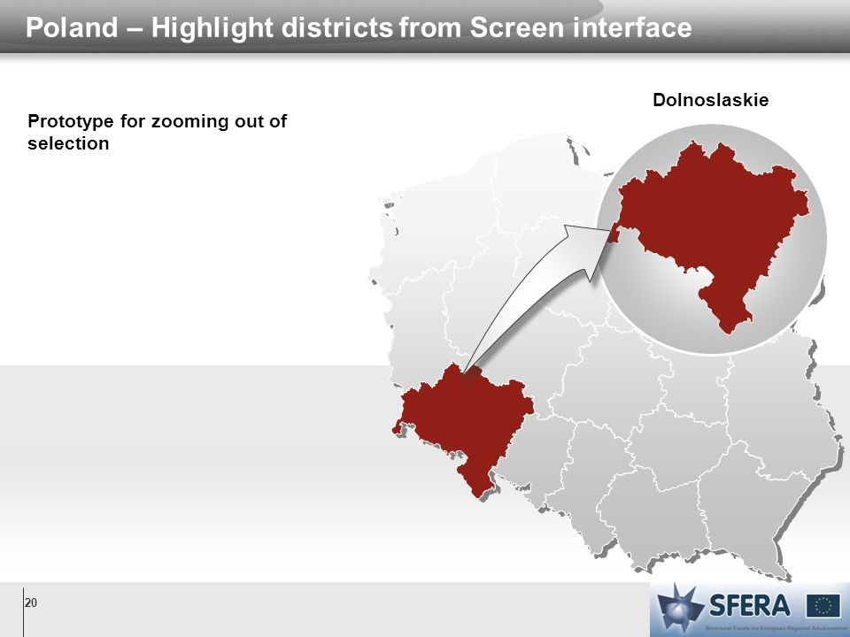 20 Poland – Highlight districts from Screen interface Dolnoslaskie Prototype for zooming out of selection