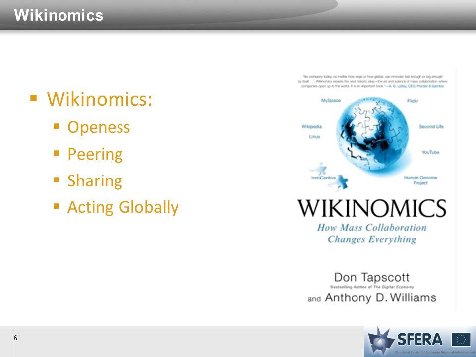 Wikinomics 6 Wikinomics: Openess Peering Sharing Acting Globally