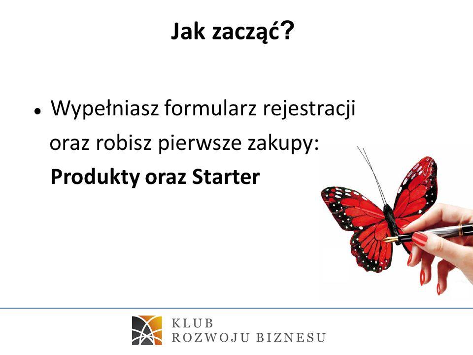 Jak zacząć ? Wypełniasz formularz rejestracji oraz robisz pierwsze zakupy: Produkty oraz Starter