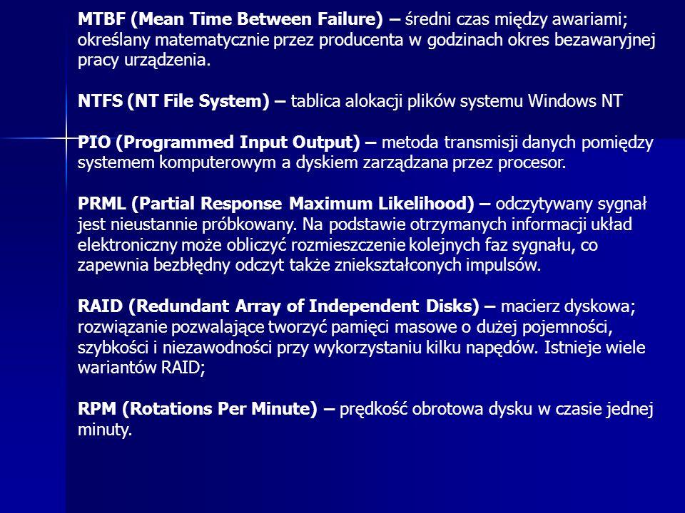 MTBF (Mean Time Between Failure) – średni czas między awariami; określany matematycznie przez producenta w godzinach okres bezawaryjnej pracy urządzen