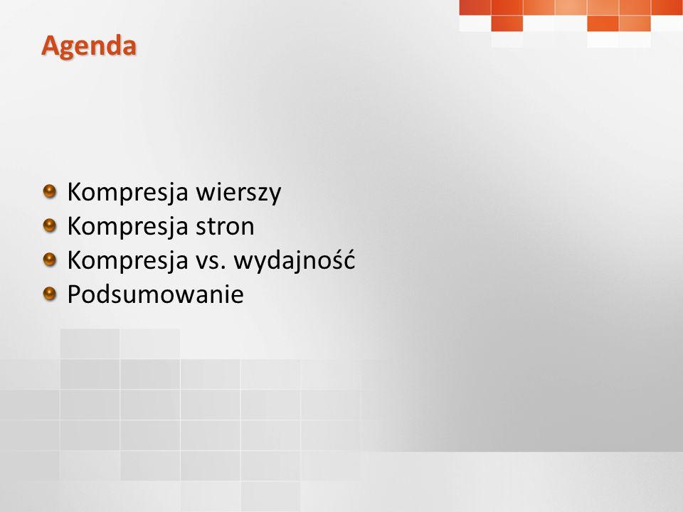 Kompresja wierszy Kompresja stron Kompresja vs. wydajność Podsumowanie Agenda