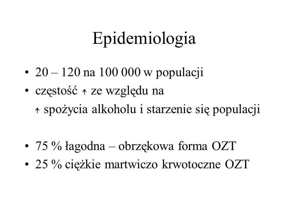 Epidemiologia 20 – 120 na 100 000 w populacji częstość ze względu na spożycia alkoholu i starzenie się populacji 75 % łagodna – obrzękowa forma OZT 25