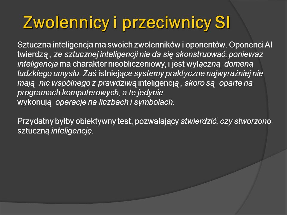 Przykładowe realizacje Gra 20 pytań http://www.20q.net/http://www.20q.net/ Systemy odpowiadające na pytania (w j.