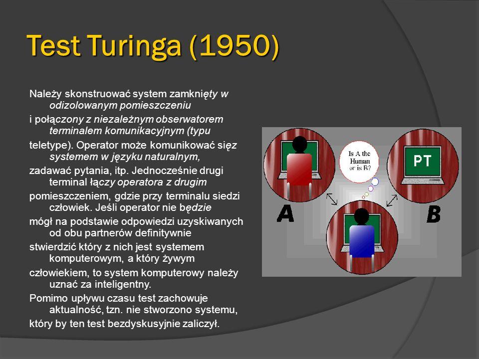 Przykładowe realizacje Wirtualne zwierzęta domowe: http://www.virtualpet.com/vp/vpindex2.htm http://www.virtualpet.com/vp/vpindex2.htm Korektor językowy: http://morfologik.blogspot.com/ Prognozowanie pogody: http://home.agh.edu.pl/~vlsi/AI/ex02/pogoda.html http://home.agh.edu.pl/~vlsi/AI/ex02/pogoda.html Rozpoznawanie znaków pisanych myszką: http://www.epokay.net/artur/download.php?ppath =rozpoznawanie_tzn.rar http://www.epokay.net/artur/download.php?ppath =rozpoznawanie_tzn.rar