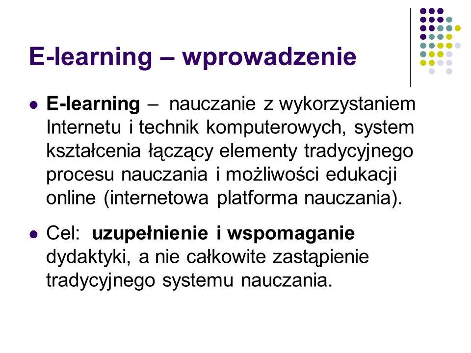 E-learning – wprowadzenie E-learning – nauczanie z wykorzystaniem Internetu i technik komputerowych, system kształcenia łączący elementy tradycyjnego