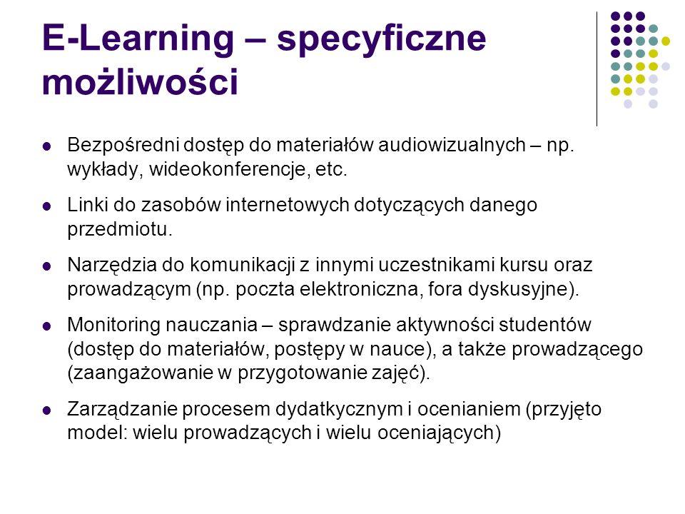 E-Learning – specyficzne możliwości Bezpośredni dostęp do materiałów audiowizualnych – np. wykłady, wideokonferencje, etc. Linki do zasobów internetow