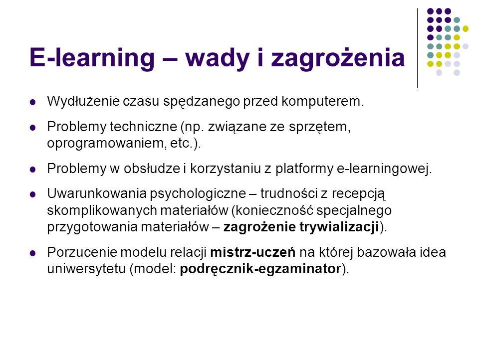 E-learning – wady i zagrożenia Wydłużenie czasu spędzanego przed komputerem. Problemy techniczne (np. związane ze sprzętem, oprogramowaniem, etc.). Pr