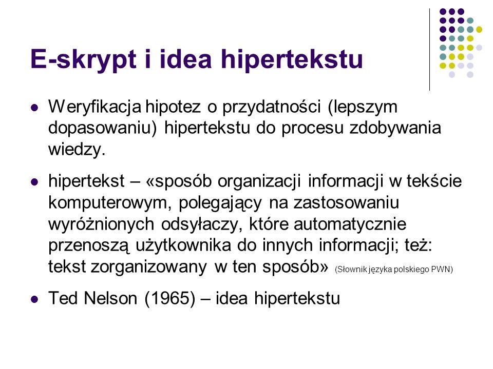 E-skrypt i idea hipertekstu Weryfikacja hipotez o przydatności (lepszym dopasowaniu) hipertekstu do procesu zdobywania wiedzy. hipertekst – «sposób or