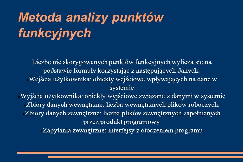 Metoda analizy punktów funkcyjnych Liczbę nie skorygowanych punktów funkcyjnych wylicza się na podstawie formuły korzystając z następujących danych: W