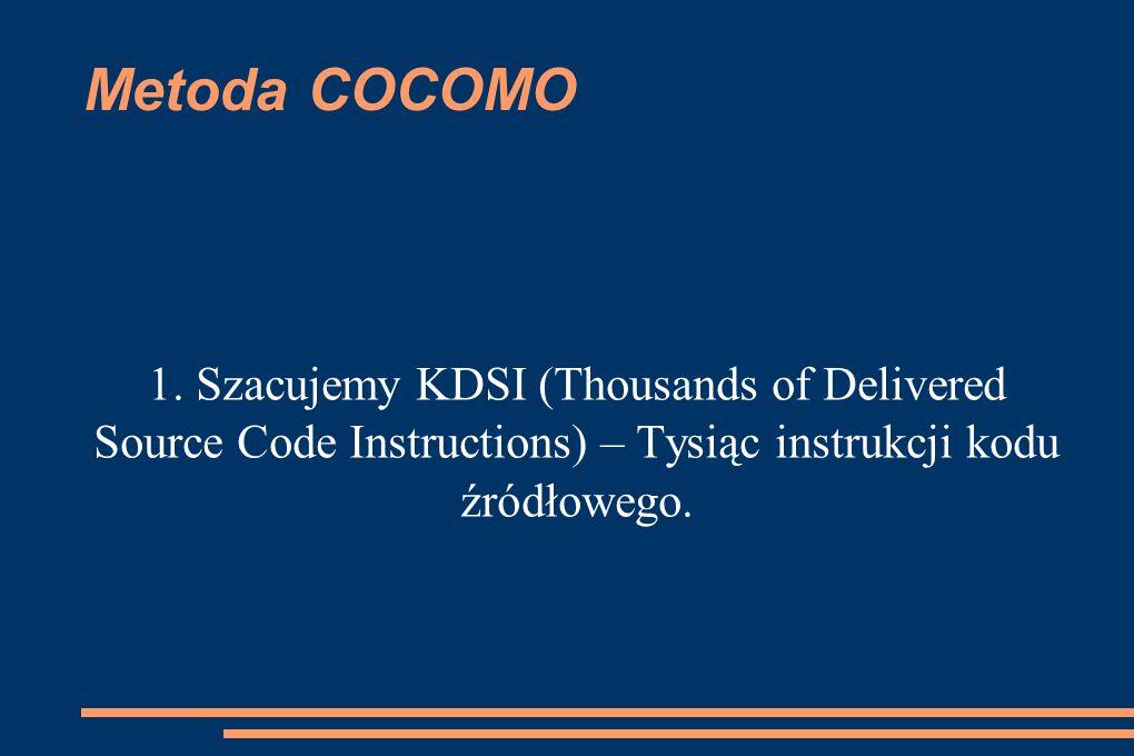 Metoda COCOMO 1. Szacujemy KDSI (Thousands of Delivered Source Code Instructions) – Tysiąc instrukcji kodu źródłowego.