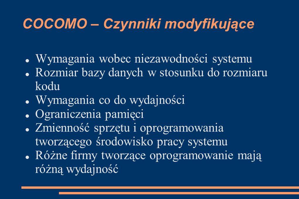 COCOMO – Czynniki modyfikujące Wymagania wobec niezawodności systemu Rozmiar bazy danych w stosunku do rozmiaru kodu Wymagania co do wydajności Ograni