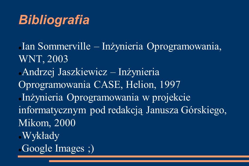 Bibliografia Ian Sommerville – Inżynieria Oprogramowania, WNT, 2003 Andrzej Jaszkiewicz – Inżynieria Oprogramowania CASE, Helion, 1997 Inżynieria Opro