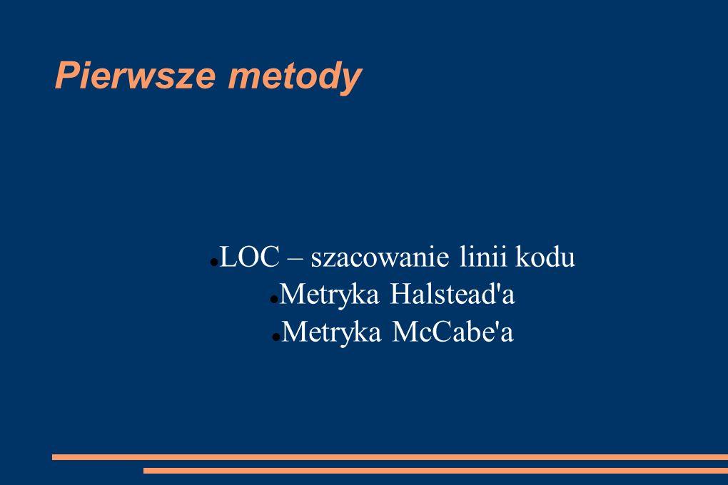 Pierwsze metody LOC – szacowanie linii kodu Metryka Halstead'a Metryka McCabe'a