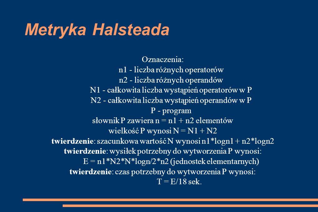 Metryka Halsteada Oznaczenia: n1 - liczba różnych operatorów n2 - liczba różnych operandów N1 - całkowita liczba wystąpień operatorów w P N2 - całkowi