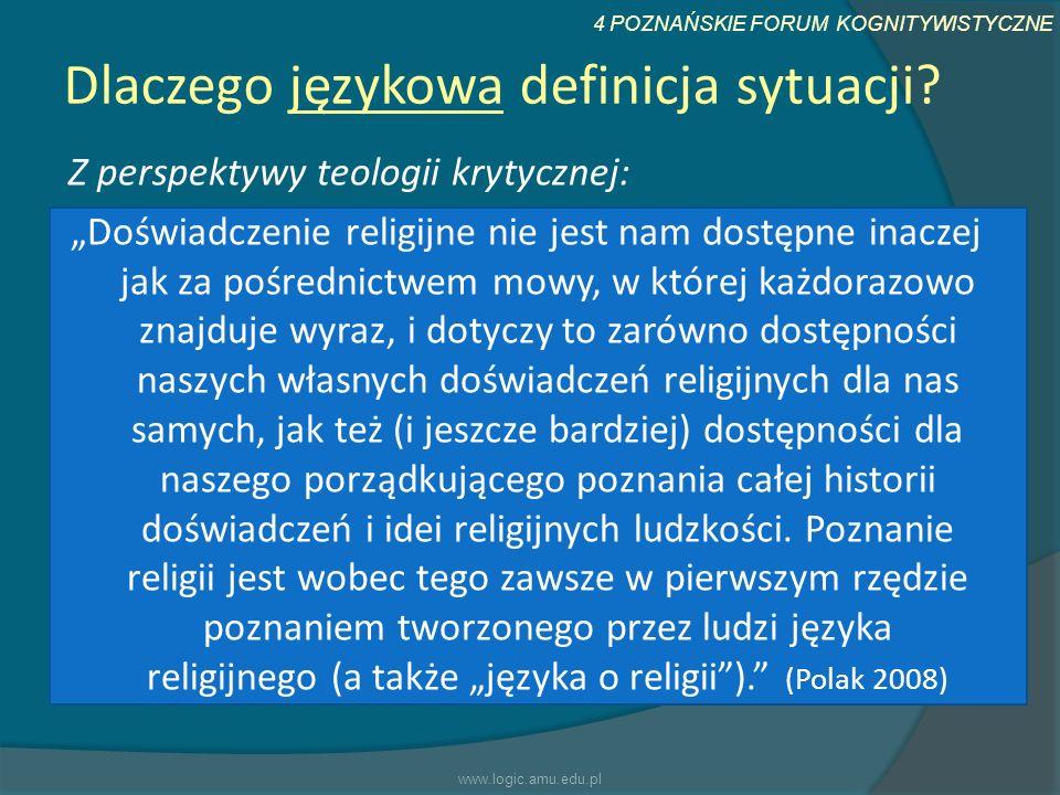 4 POZNAŃSKIE FORUM KOGNITYWISTYCZNE Dlaczego językowa definicja sytuacji? Z perspektywy teologii krytycznej: Doświadczenie religijne nie jest nam dost