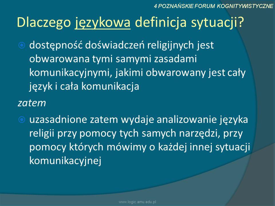 4 POZNAŃSKIE FORUM KOGNITYWISTYCZNE Dlaczego językowa definicja sytuacji? dostępność doświadczeń religijnych jest obwarowana tymi samymi zasadami komu