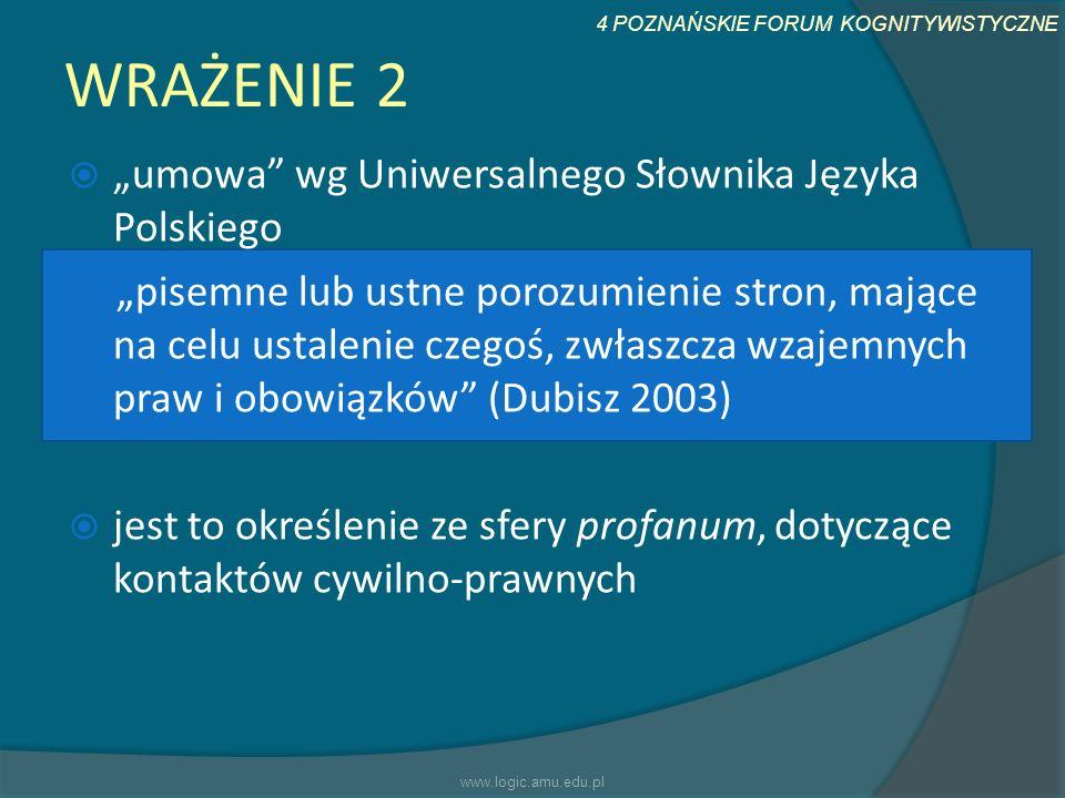 4 POZNAŃSKIE FORUM KOGNITYWISTYCZNE WRAŻENIE 2 umowa wg Uniwersalnego Słownika Języka Polskiego pisemne lub ustne porozumienie stron, mające na celu u
