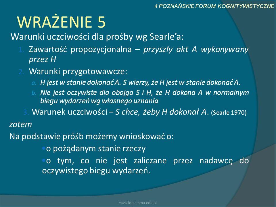 4 POZNAŃSKIE FORUM KOGNITYWISTYCZNE WRAŻENIE 5 Warunki uczciwości dla prośby wg Searlea: 1. Zawartość propozycjonalna – przyszły akt A wykonywany prze