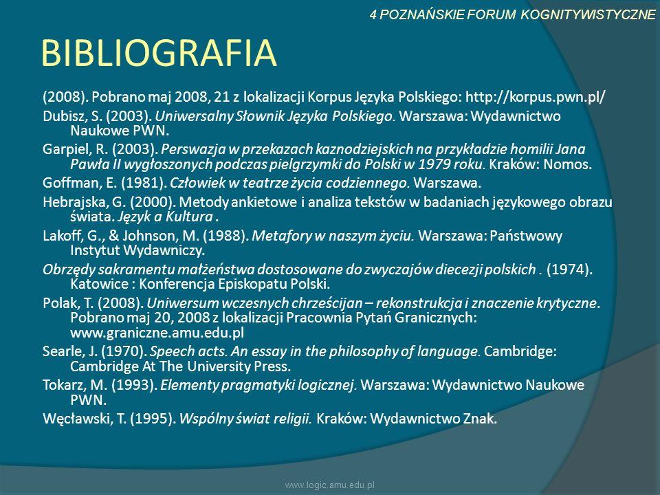 4 POZNAŃSKIE FORUM KOGNITYWISTYCZNE BIBLIOGRAFIA (2008). Pobrano maj 2008, 21 z lokalizacji Korpus Języka Polskiego: http://korpus.pwn.pl/ Dubisz, S.