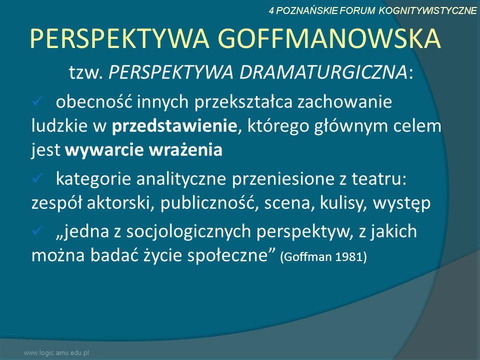 4 POZNAŃSKIE FORUM KOGNITYWISTYCZNE PERSPEKTYWA GOFFMANOWSKA tzw. PERSPEKTYWA DRAMATURGICZNA: obecność innych przekształca zachowanie ludzkie w przeds