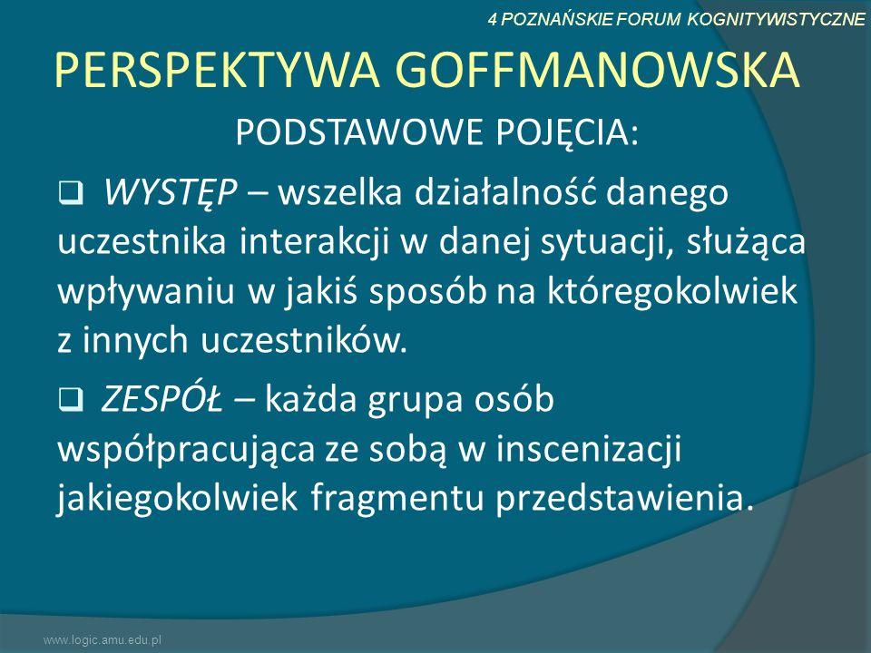 4 POZNAŃSKIE FORUM KOGNITYWISTYCZNE PERSPEKTYWA GOFFMANOWSKA PODSTAWOWE POJĘCIA: WYSTĘP – wszelka działalność danego uczestnika interakcji w danej syt