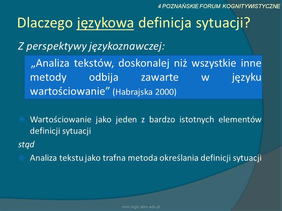 4 POZNAŃSKIE FORUM KOGNITYWISTYCZNE Dlaczego językowa definicja sytuacji? Z perspektywy językoznawczej: Analiza tekstów, doskonalej niż wszystkie inne