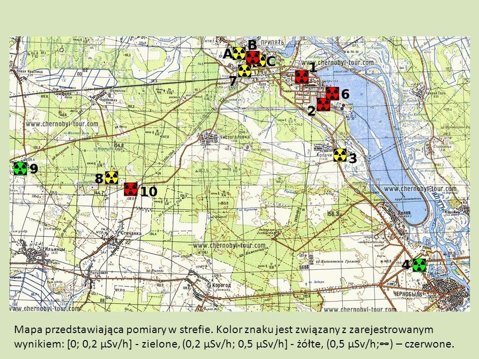 Mapa przedstawiająca pomiary w strefie. Kolor znaku jest związany z zarejestrowanym wynikiem: [0; 0,2 µSv/h] - zielone, (0,2 µSv/h; 0,5 µSv/h] - żółte