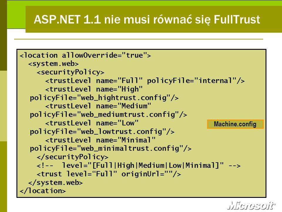 ASP.NET 1.1 nie musi równać się FullTrust Machine.config