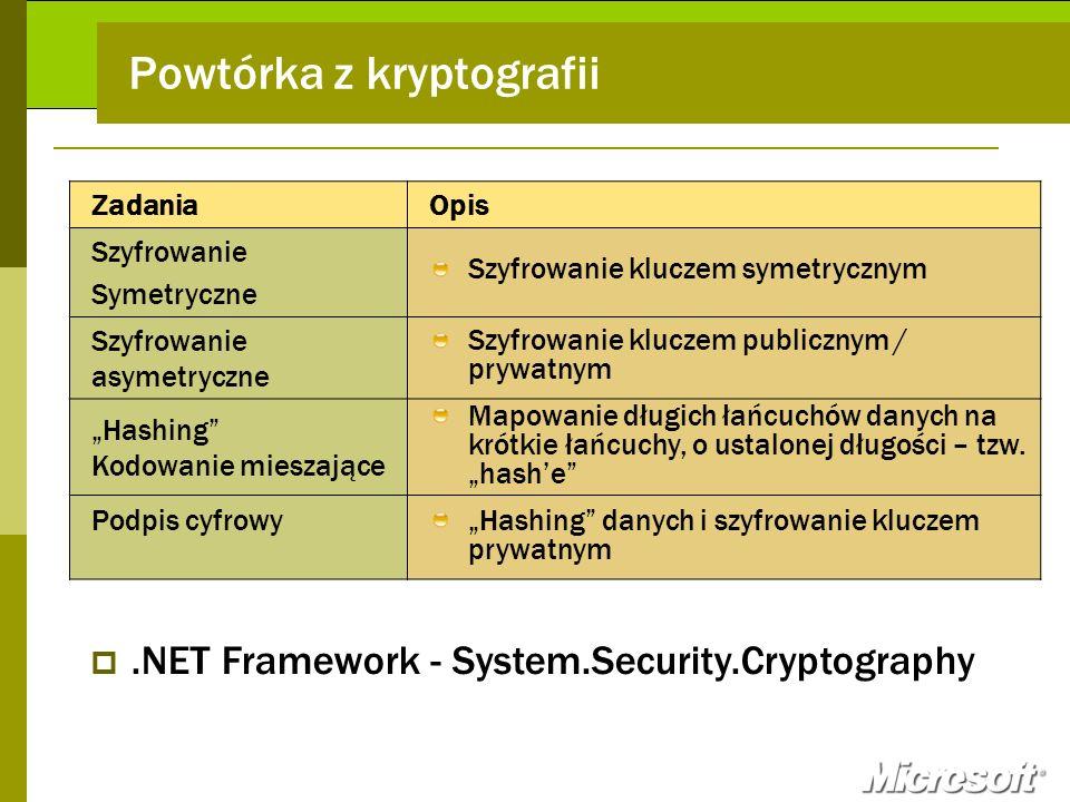 Powtórka z kryptografii ZadaniaOpis Szyfrowanie Symetryczne Szyfrowanie kluczem symetrycznym Szyfrowanie asymetryczne Szyfrowanie kluczem publicznym /