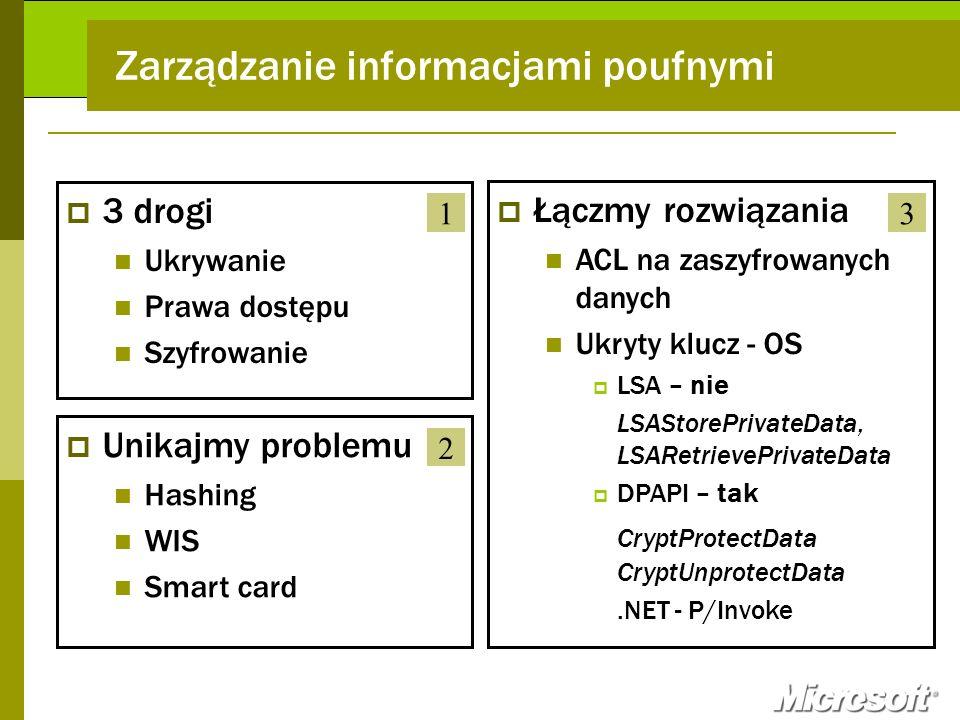 Zarządzanie informacjami poufnymi 3 drogi Ukrywanie Prawa dostępu Szyfrowanie Łączmy rozwiązania ACL na zaszyfrowanych danych Ukryty klucz - OS LSA –