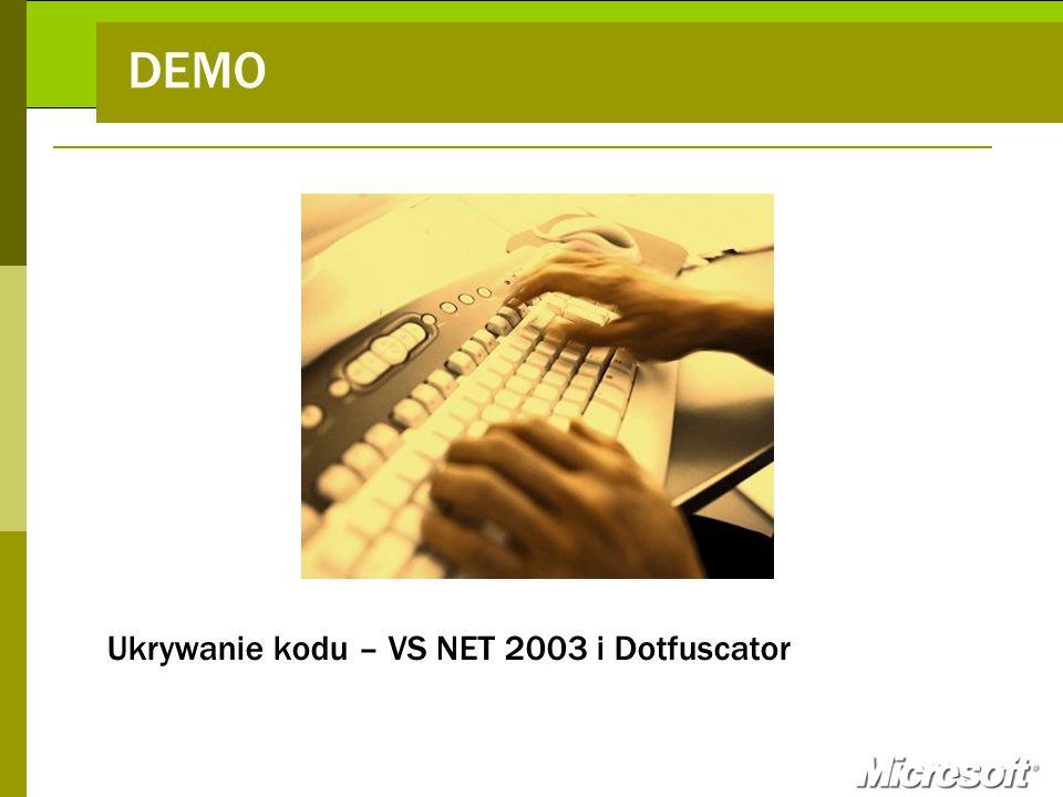 DEMO Ukrywanie kodu – VS NET 2003 i Dotfuscator