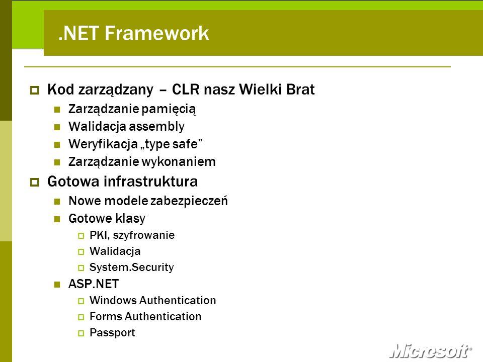 .NET Framework Kod zarządzany – CLR nasz Wielki Brat Zarządzanie pamięcią Walidacja assembly Weryfikacja type safe Zarządzanie wykonaniem Gotowa infra
