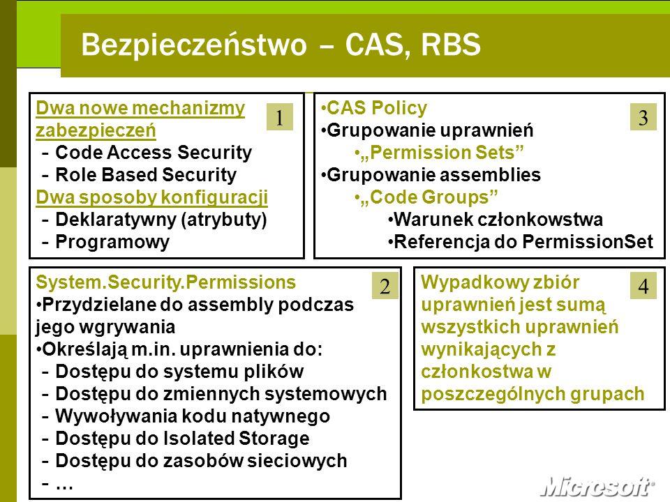 CAS Policy Grupowanie uprawnień Permission Sets Grupowanie assemblies Code Groups Warunek członkowstwa Referencja do PermissionSet Dwa nowe mechanizmy