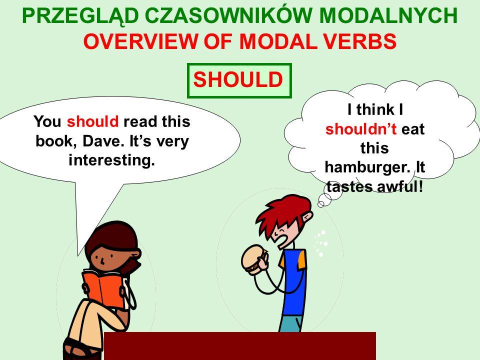 MUST Ten czasownik wyraża obowiązek, którego źródłem jest osoba mówiąca: Of course you must do your homework first.