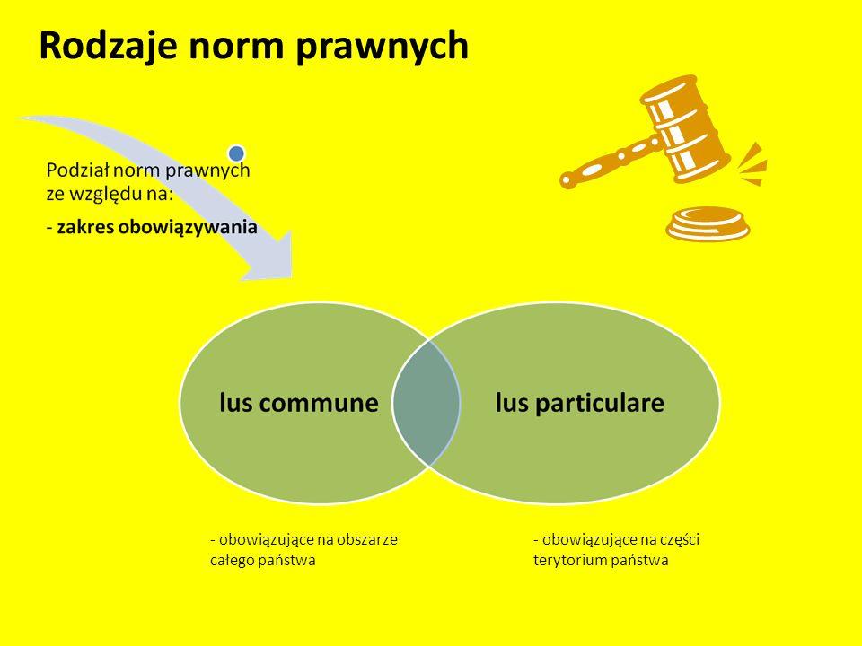Rodzaje norm prawnych - obowiązujące na części terytorium państwa - obowiązujące na obszarze całego państwa
