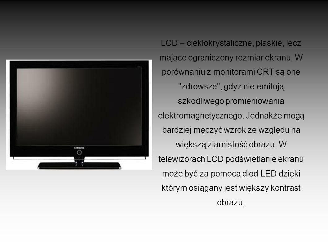 DLP – projekcyjne, często bardzo duże. Obraz wyświetlany jest na tylnej powierzchni półprzezroczystej szyby, na której z przodu ogląda się obraz,