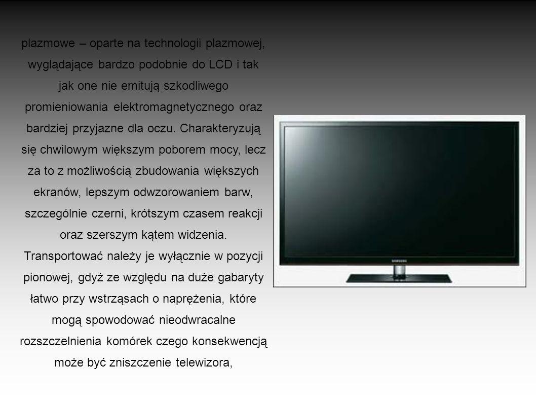 LCD – ciekłokrystaliczne, płaskie, lecz mające ograniczony rozmiar ekranu. W porównaniu z monitorami CRT są one