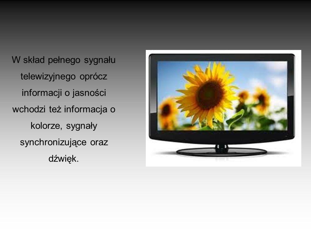 TRANSMISJA OBRAZU Obraz jest transmitowany w postaci analogowej linia po linii – element analizujący przesuwa się po obrazie wzdłuż linii, a wartość s