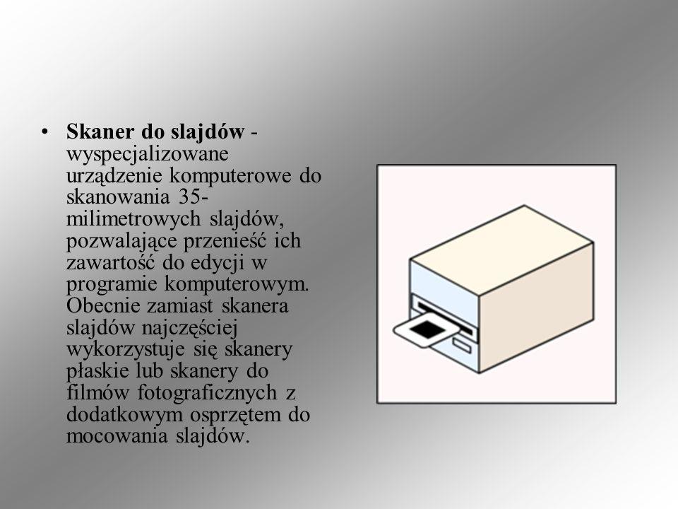 Skaner do slajdów - wyspecjalizowane urządzenie komputerowe do skanowania 35- milimetrowych slajdów, pozwalające przenieść ich zawartość do edycji w p