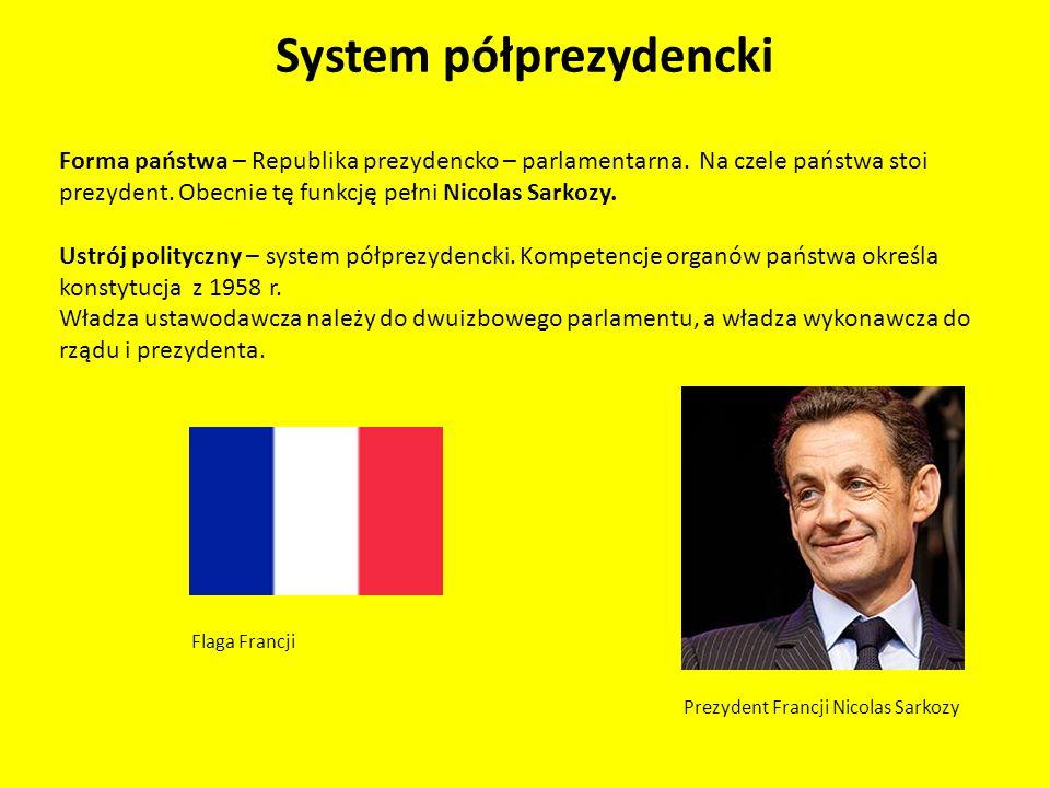 System półprezydencki Forma państwa – Republika prezydencko – parlamentarna. Na czele państwa stoi prezydent. Obecnie tę funkcję pełni Nicolas Sarkozy