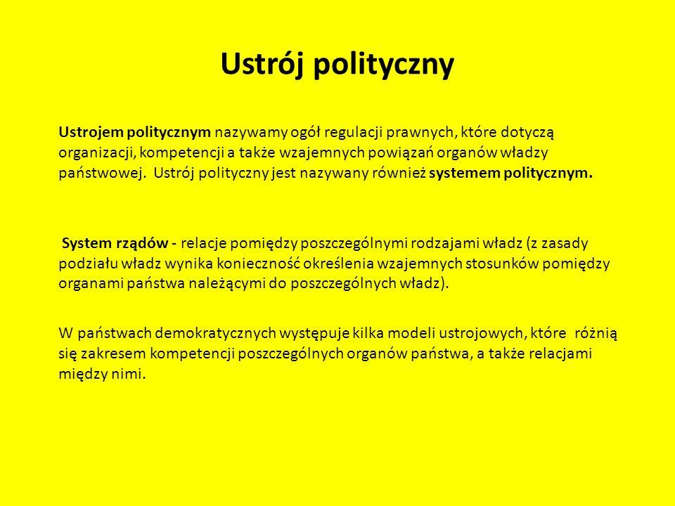 Ustrój polityczny Ustrojem politycznym nazywamy ogół regulacji prawnych, które dotyczą organizacji, kompetencji a także wzajemnych powiązań organów wł