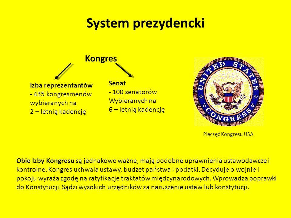 System prezydencki Kongres Izba reprezentantów - 435 kongresmenów wybieranych na 2 – letnią kadencję Senat - 100 senatorów Wybieranych na 6 – letnią k