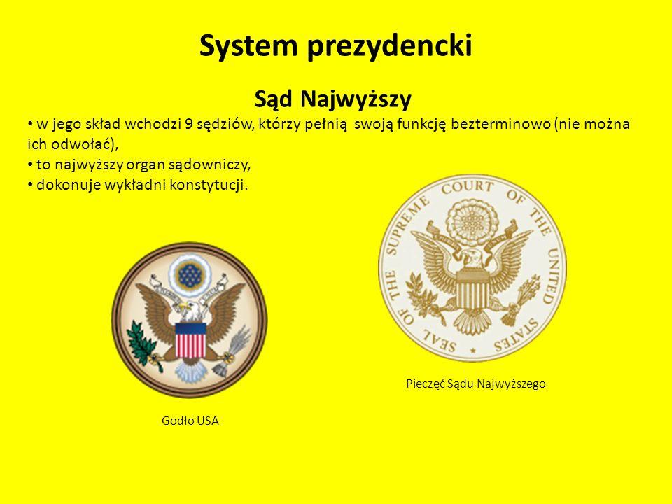 System prezydencki Sąd Najwyższy w jego skład wchodzi 9 sędziów, którzy pełnią swoją funkcję bezterminowo (nie można ich odwołać), to najwyższy organ