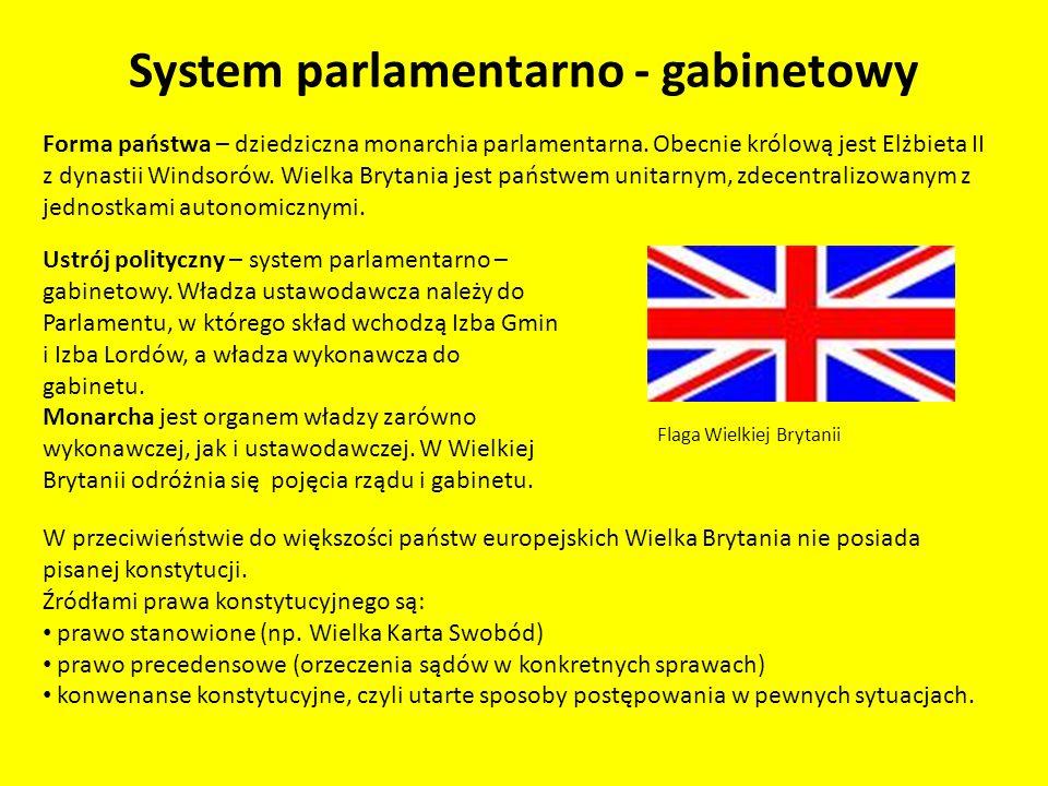 System parlamentarno - gabinetowy Najważniejsze konwenanse skład gabinetu określa premier, nie monarcha, urząd premiera obejmuje lider partii, która zwyciężyła w wyborach, odpowiedzialność przed parlamentem ponosi cały rząd rząd, który utracił zaufanie Izby Gmin, podaje się do dymisji lub zwraca się do głowy państwa o rozwiązanie izby niższej parlamentu, głowa państwa nie ponosi odpowiedzialności politycznej.