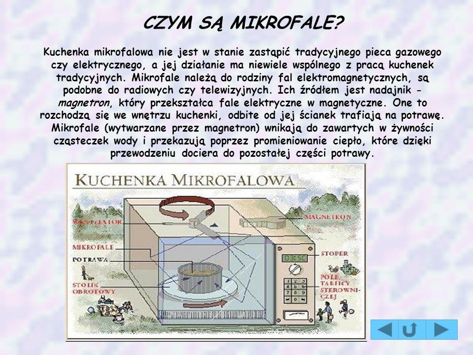 CZYM SĄ MIKROFALE? Kuchenka mikrofalowa nie jest w stanie zastąpić tradycyjnego pieca gazowego czy elektrycznego, a jej działanie ma niewiele wspólneg