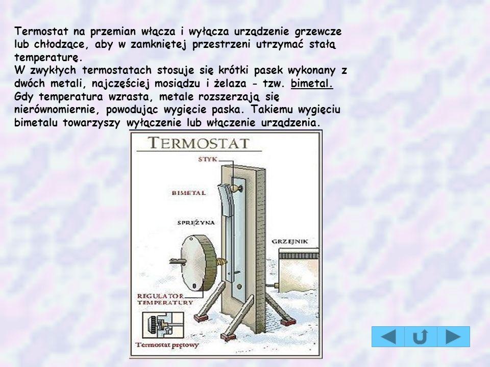 Termostat na przemian włącza i wyłącza urządzenie grzewcze lub chłodzące, aby w zamkniętej przestrzeni utrzymać stałą temperaturę. W zwykłych termosta