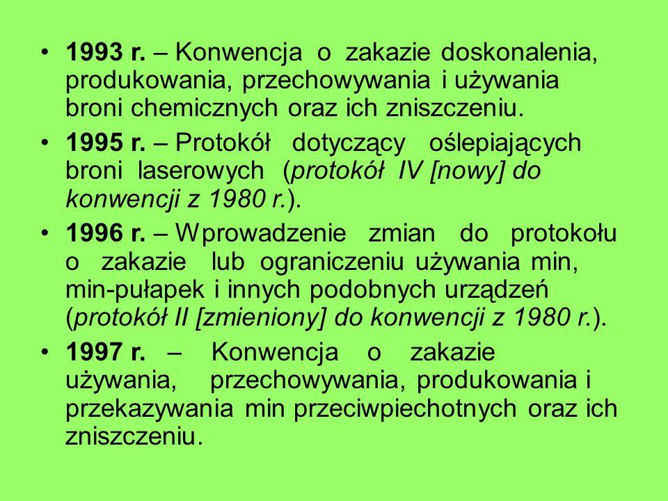 1993 r. – Konwencja o zakazie doskonalenia, produkowania, przechowywania i używania broni chemicznych oraz ich zniszczeniu. 1995 r. – Protokół dotyczą