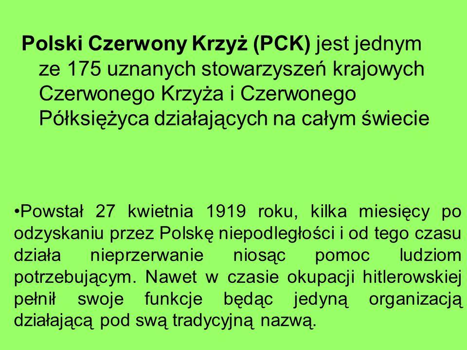 Polski Czerwony Krzyż (PCK) jest jednym ze 175 uznanych stowarzyszeń krajowych Czerwonego Krzyża i Czerwonego Półksiężyca działających na całym świeci