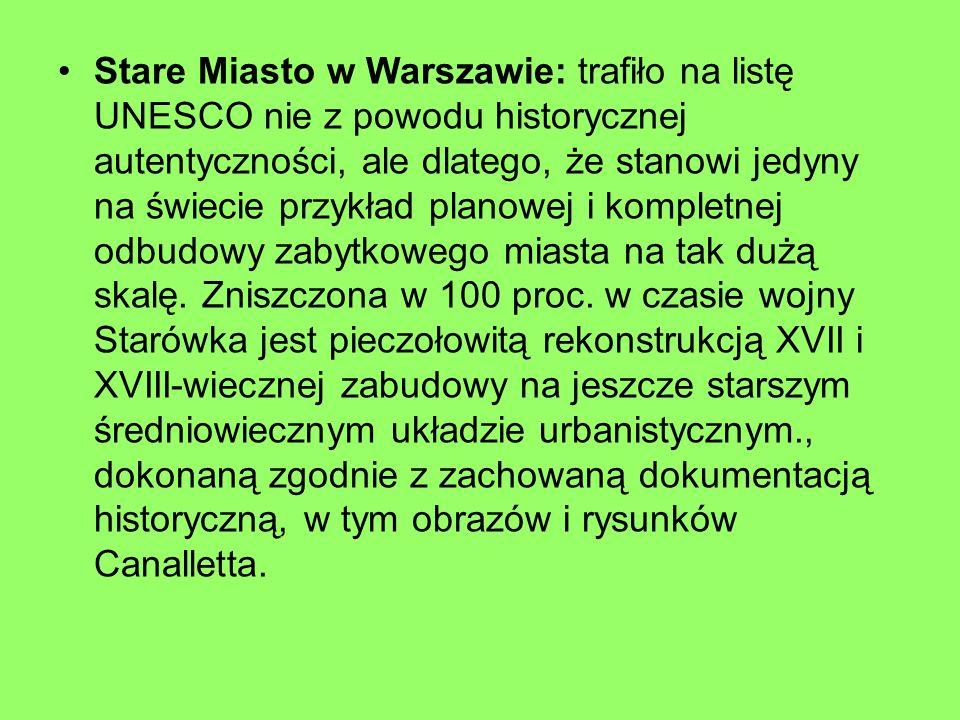 Stare Miasto w Warszawie: trafiło na listę UNESCO nie z powodu historycznej autentyczności, ale dlatego, że stanowi jedyny na świecie przykład planowe