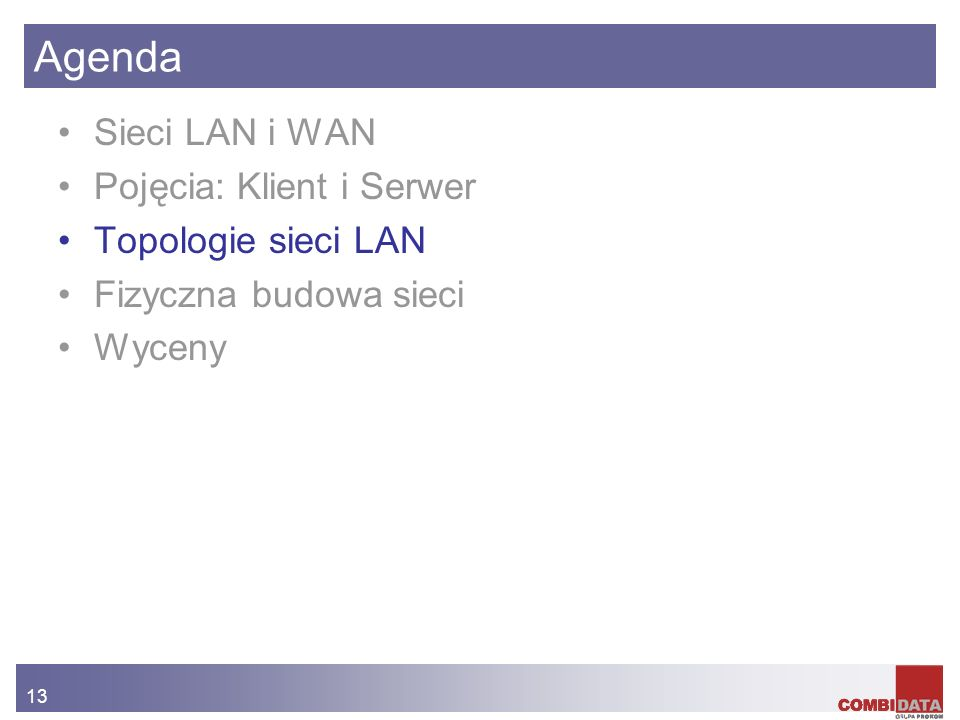 13 Agenda Sieci LAN i WAN Pojęcia: Klient i Serwer Topologie sieci LAN Fizyczna budowa sieci Wyceny